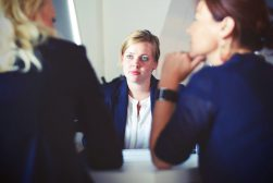 A woman having a job interview