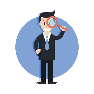 Cartoon Businessman with Magnifying Glass