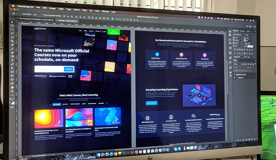 A website layout in photoshop