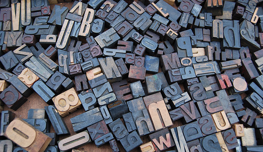 Jumbled letters used for typesetting