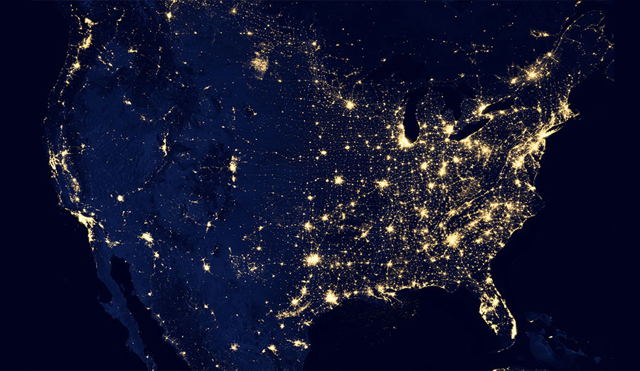A map of the united states with lights