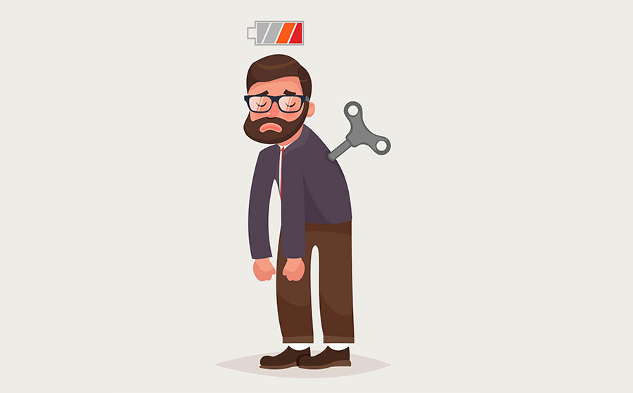 Tired businessman with Clockwork key and empty battery.