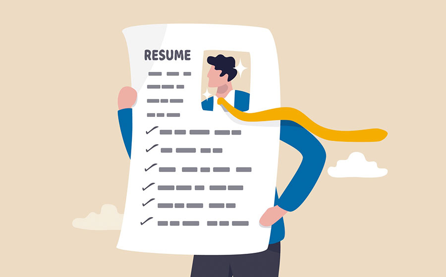 Illustration of a man holding a resume