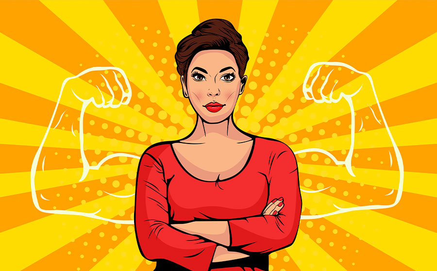 Businesswoman with muscles pop art retro style