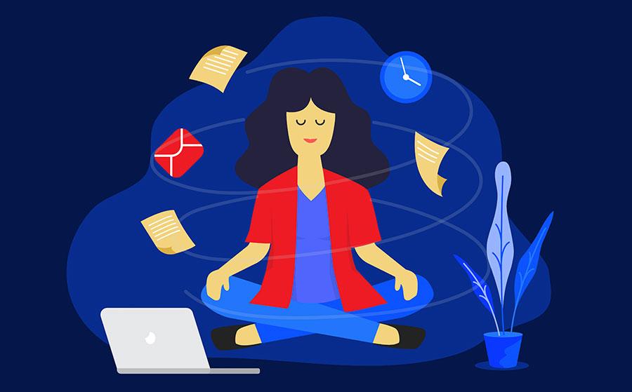 Meditation woman at work.