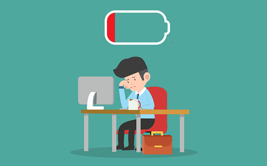 Illustration of tired businessman with desktop computer and coffee