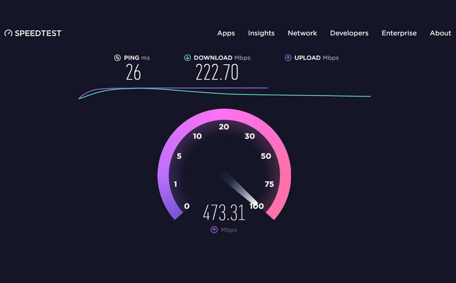 Screenshot of speedtest.net