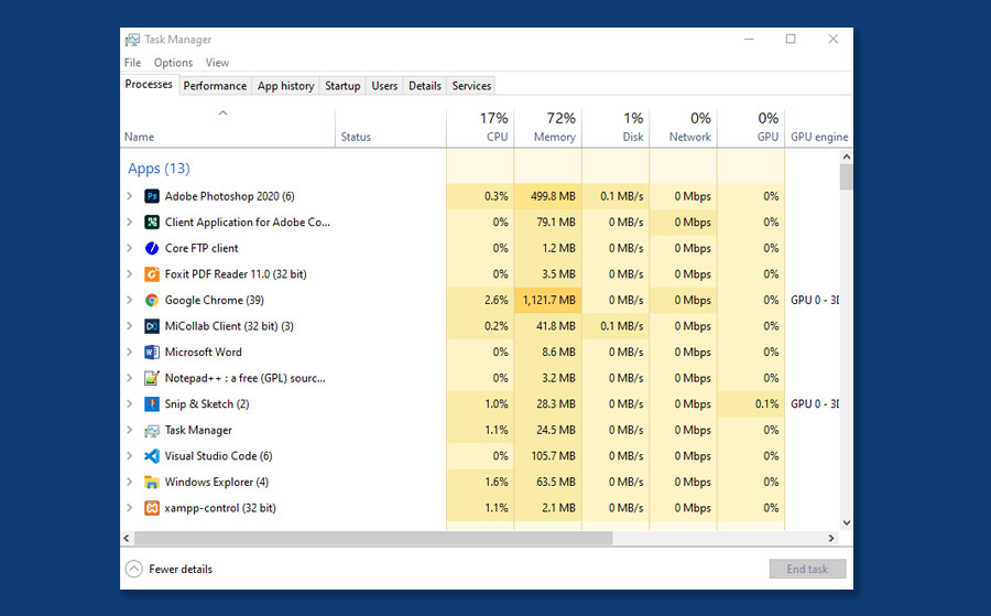 A screenshot of windows task manager