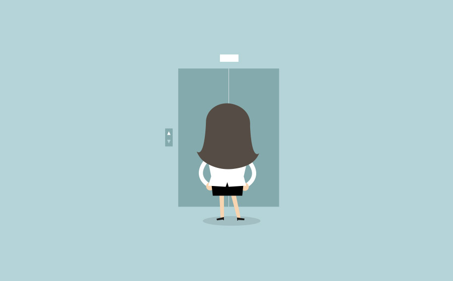 Vector drawing of a woman waiting for an elevator
