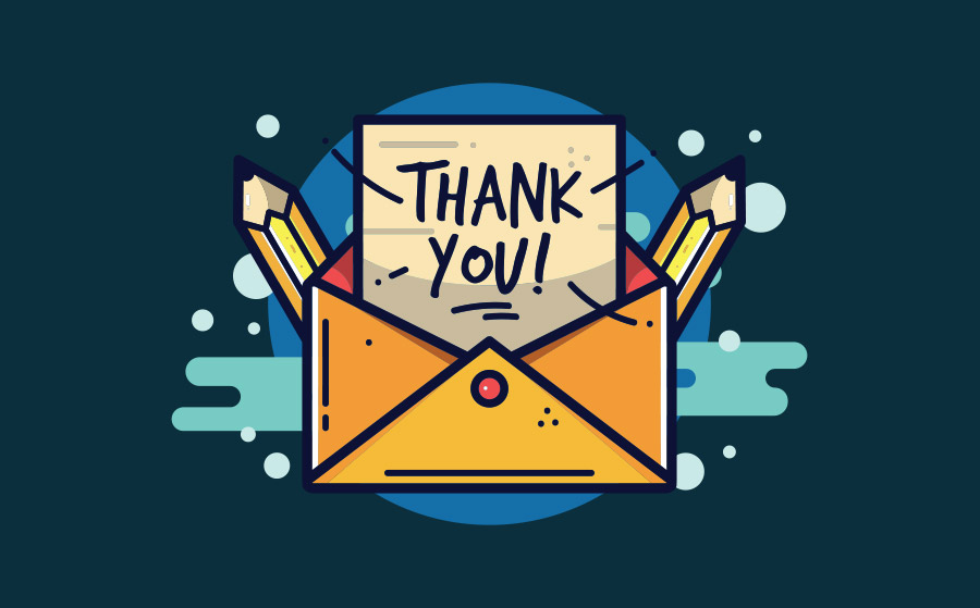 A vector of an envelope and a thank you note